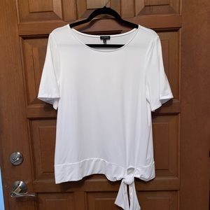 Talbots white front side tie top